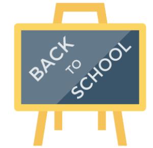 chalkboard illustration saying back to school